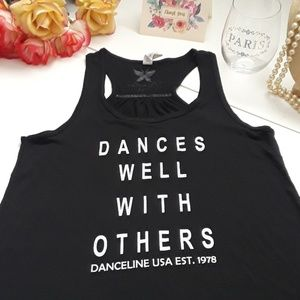 """""""Dances well with others"""" black razorback tee S"""